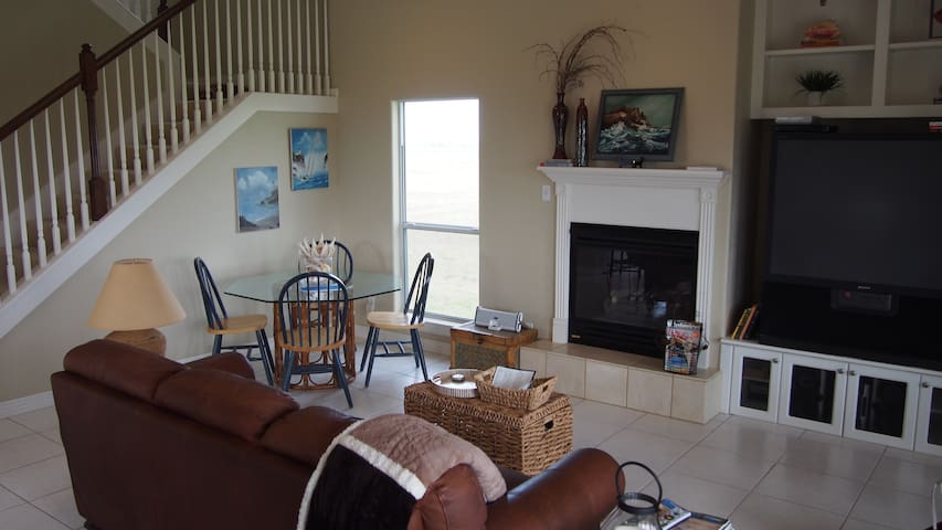 View of the living room and game table.