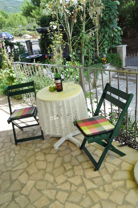 In front of the apartment is a small terrace.