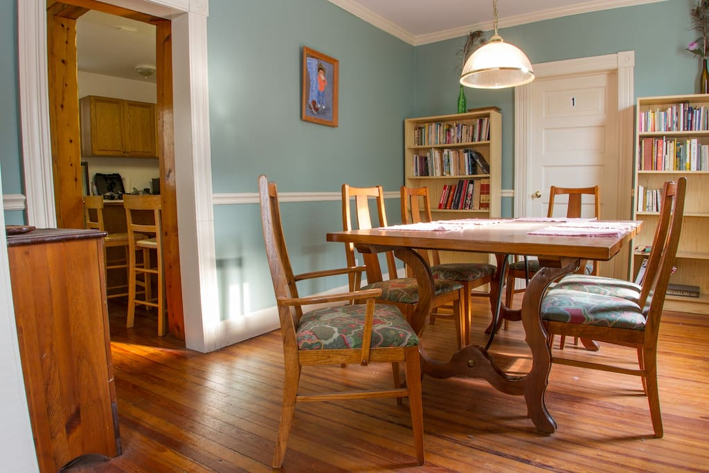 Dining room seats six.