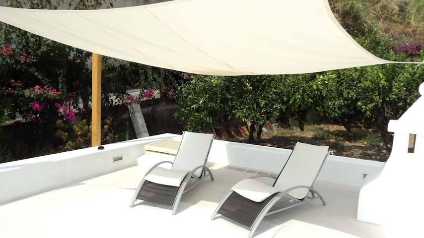 terrace solarium with shade and relaxing chaise longue chairs