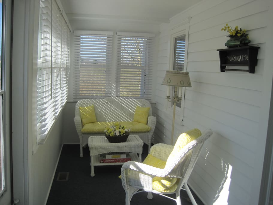This area of the sun room is so inviting and relaxing.  Fully heated and air-conditioned for year round enjoyment.
