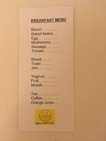 Breakfast choices, prebook by text please