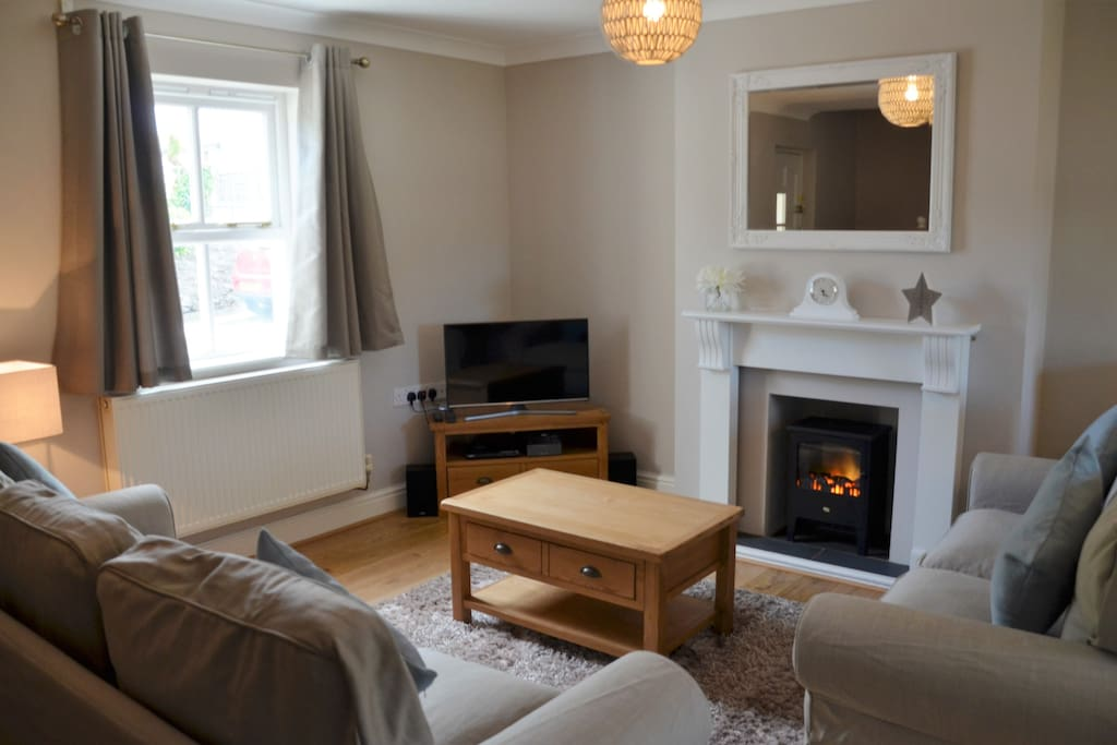 Gorgeous living area with sumptuous sofas and brand new Samsung LED SMART TV