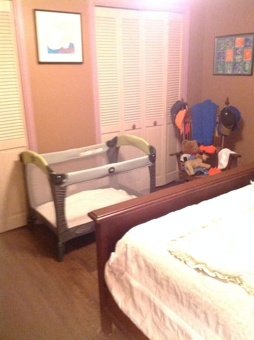 Our grand daughters stay with us on occasion...hence the baby gate. We have some important 'baby' stuff that you could use, if you need to.
