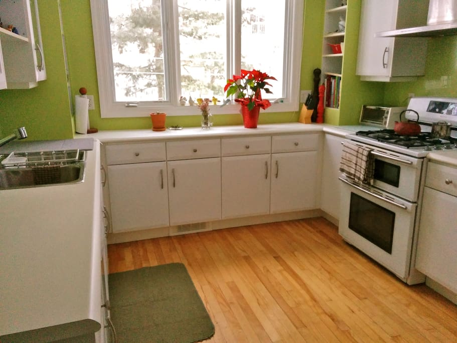 Nice bright, and open kitchen overlooking the back yard, with side door onto the patio.
