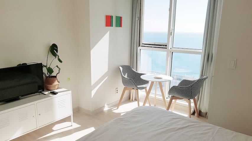 초고층의환상적인Haeundae바다뷰,해운대해변3분,호텔식침구,무료주차-tomato h1