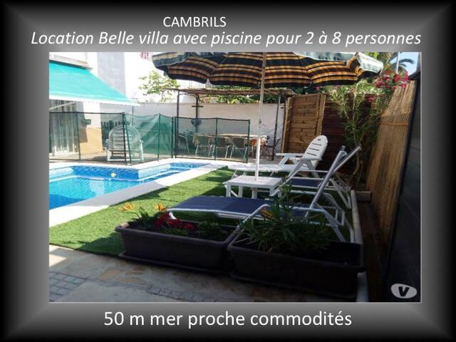 Cambrils villa 2/8 pers piscine privée.  50m Mer