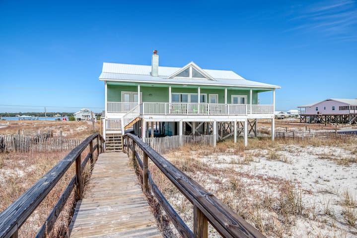Beach & Gulf front home w/private boardwalk to the beach & expansive deck!