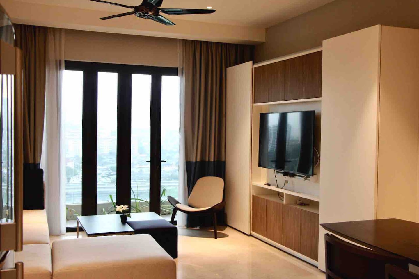 Our cozy living room and big screen smart TV for you to enjoy Netflix on the coach comfortably!