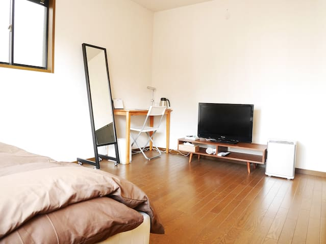 You can use 32-inch TV, Desk, AC, small cool storage and High-speed Wifi in your room.