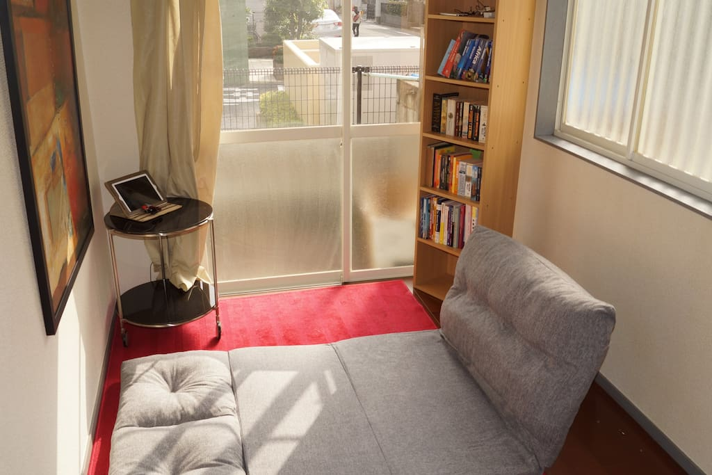 View of fold out couch. Bed room is loft type with Japanese style futton but couch is fold out type thus the unit can accommodate 2 persons.