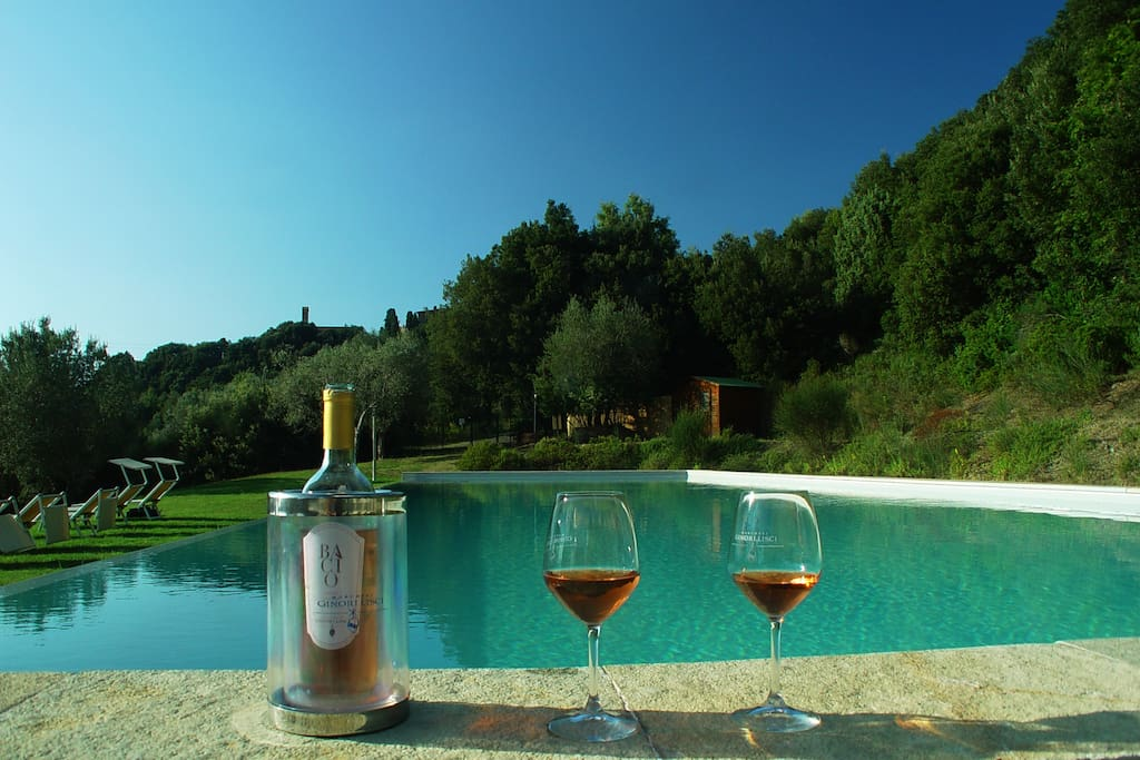 Swimming Pool and our wine Marchesi Ginori Lisci
