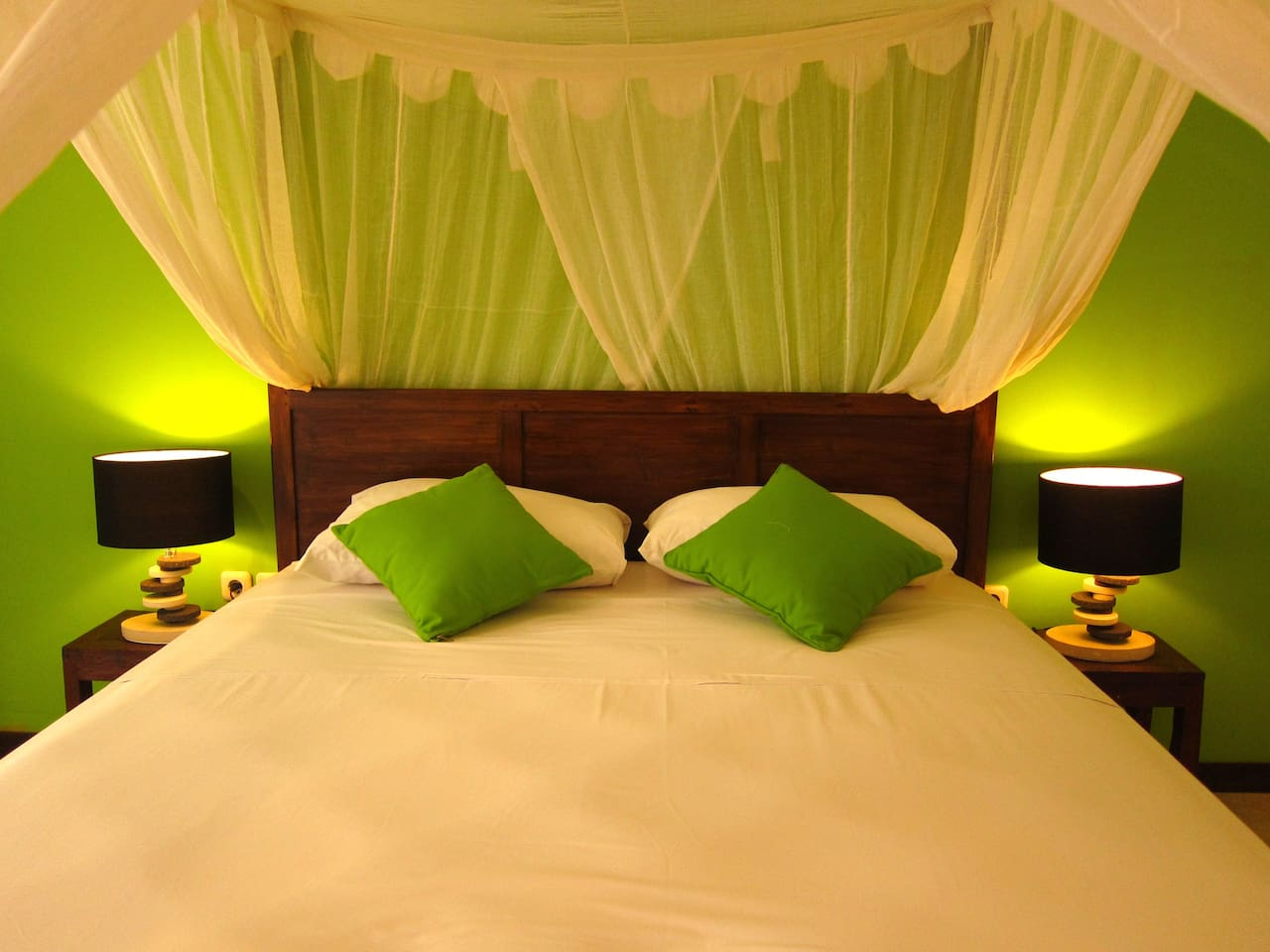 A romantic mosquito net queen size bedded room