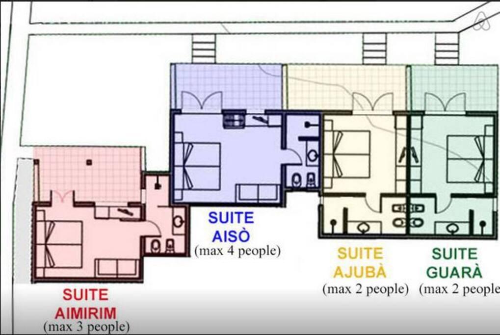 Pianta delle 4 suites