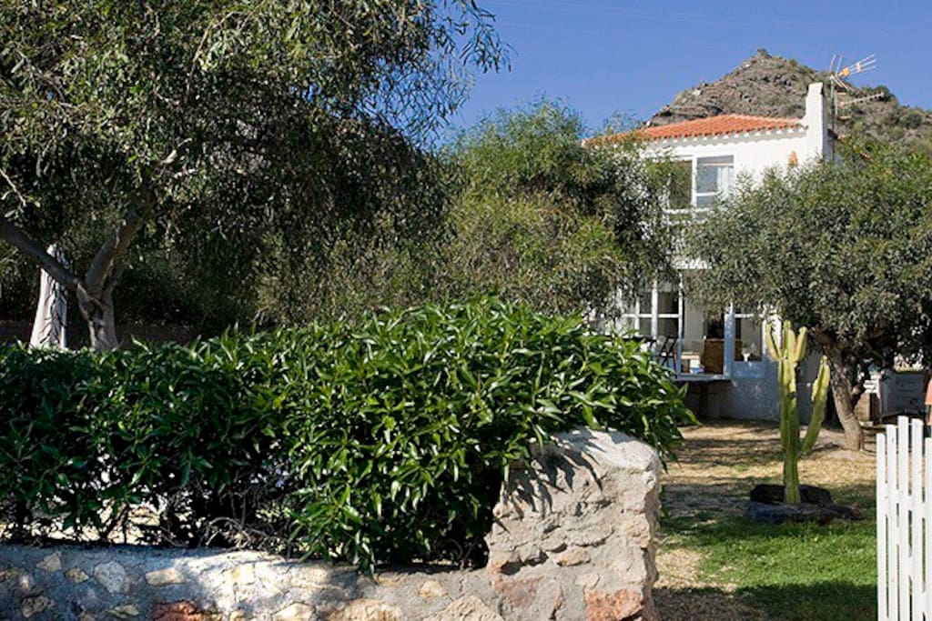 There is a large parking space at the front of the house, an outside dining table with a parasol, a hammock, a private swimming pool 4m x 3m with sun loungers and an outside shower at the back of the house with a gate leading to the beach.
