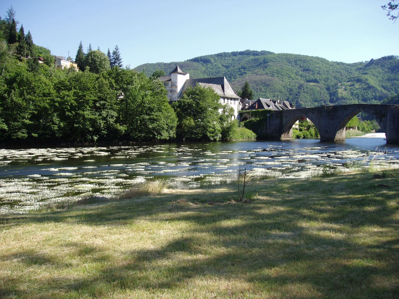 View from the garden over looking the river Truyere and the gothic bridge into Entraygues