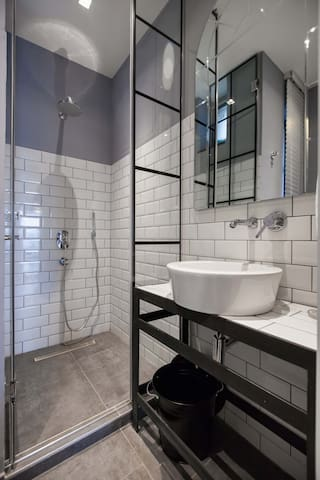 Bathroom with extra large shower