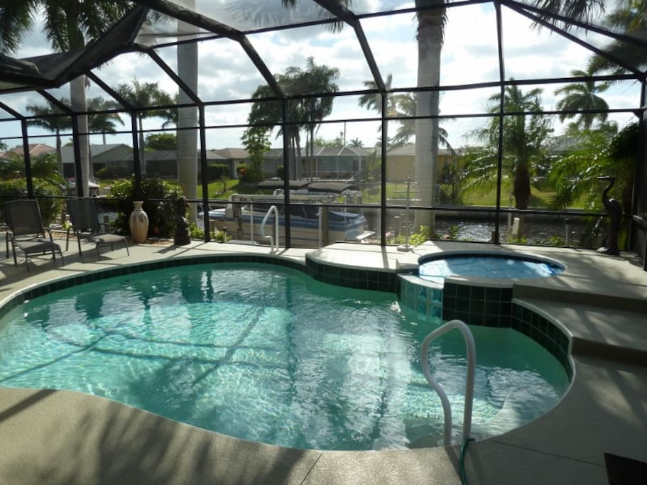 Pool with electric heated hot tub.