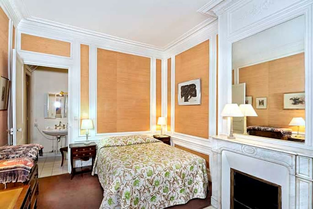 The bedroom has access to the bathroom and a nice comfortable double bed.