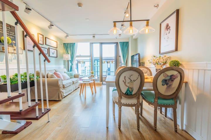 【暖·行】夫子庙老门东3号线地铁法式清新loft两室公寓
