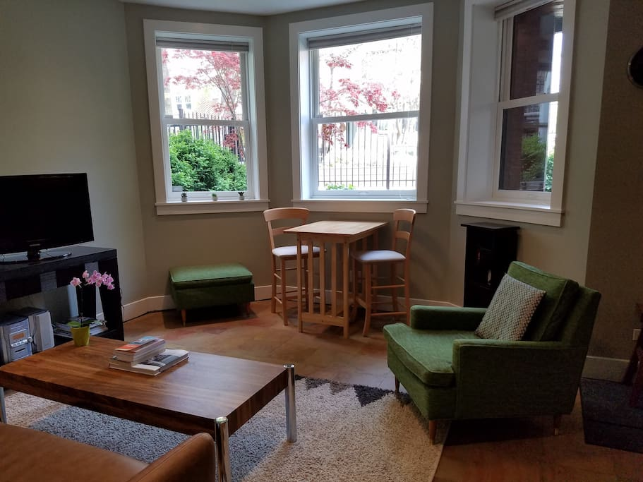 Garden apt (basement) has 3 front facing windows, very few stairs down to access