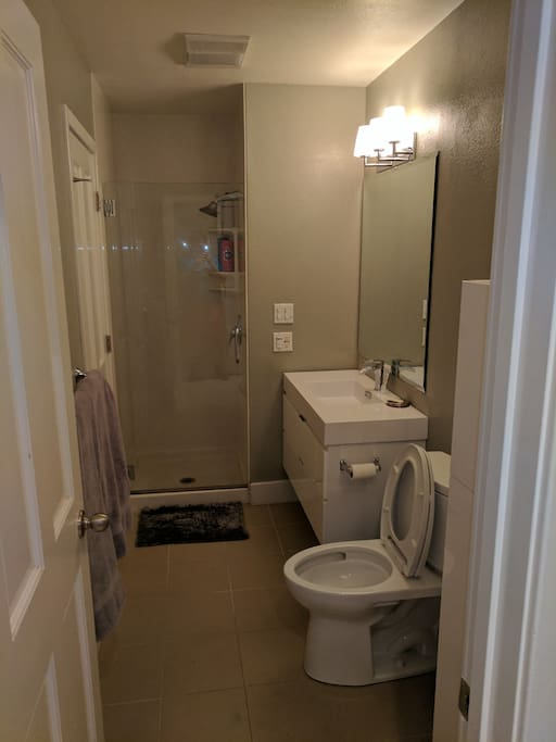 Bathroom with shower, sink, mirror and linen closet