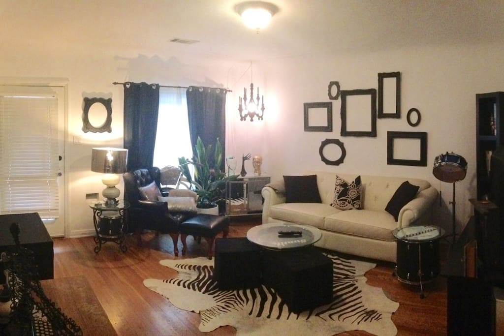 Designer living room professionally appointed.  Comfortable and spacious