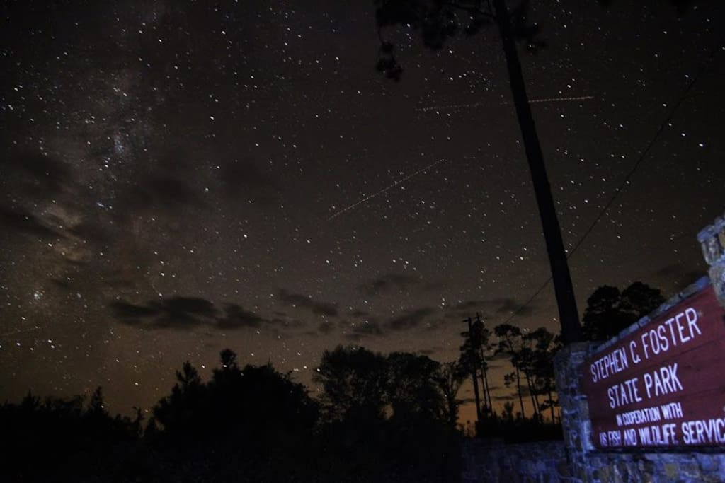 Stephen C. Foster State Park is one of the darkest places in the Southeast due to a lack of light pollution in the Okefenokee Swamp. Visit the park on Astrology Night!