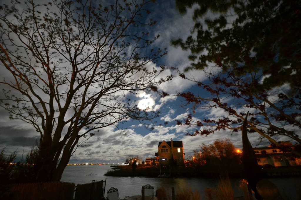 moonlight over our view of the bay