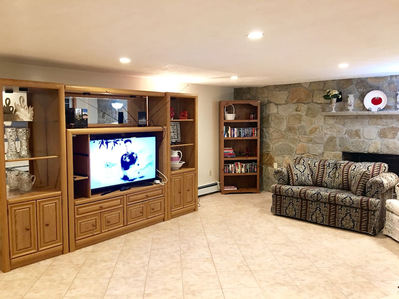 Living room with big screen smart TV