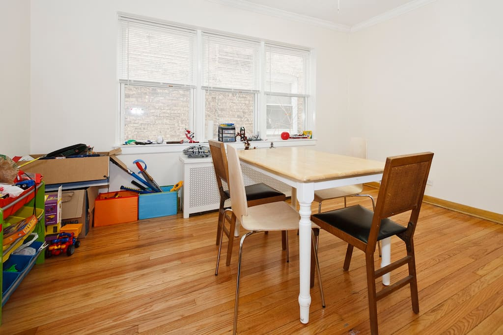 I've replaced this table with a larger, butcher block table.