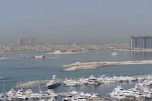 View of the sea marina, the palm and Atlantis from my balcony