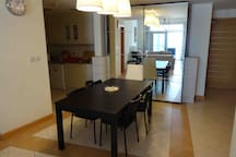 Dining room with table and chairs for 5