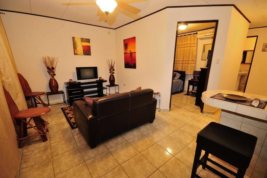 Clean and pleasant with bar, living room area, Main bedroom and guest bedroom and kitchen.
