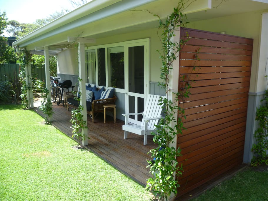 The little verandah is a great place for a BBQ or evening relax