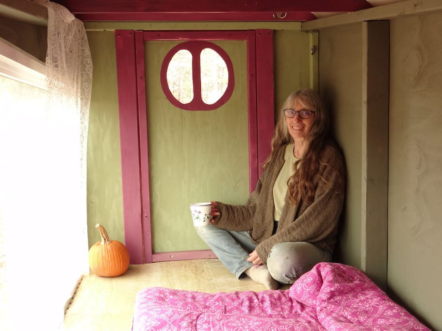 Karen inside the Hobbit House hut