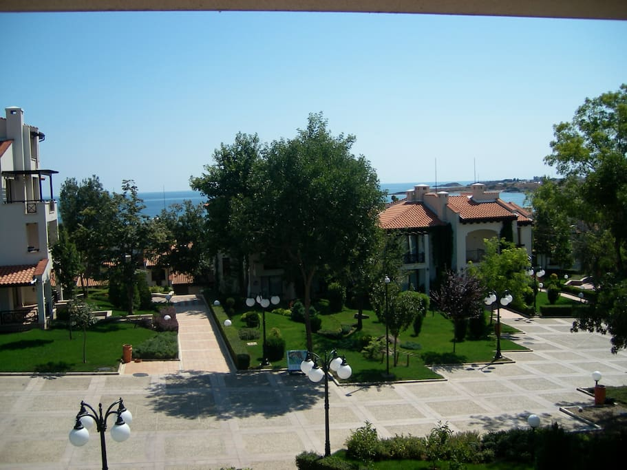 The apartment is located in a beautiful and well maintained area just a minute from the sea