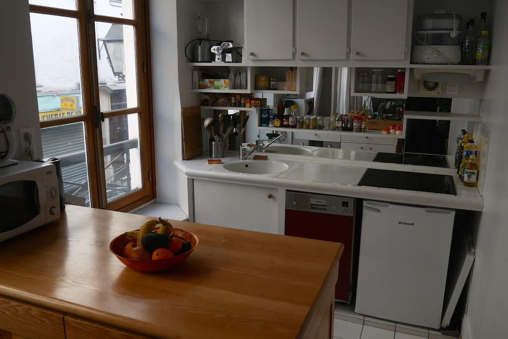 Fully equipped kitchen (fridge, hotplate, oven and microwave oven, dishwasher).