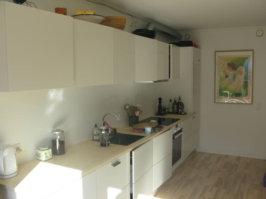 The kitchen is new and convenient. Dishwasher, Nespresso-machine, blender for the smoothies and drinks etc. is at your disposal :-)