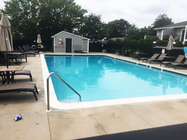 Community pool, steps from our unit