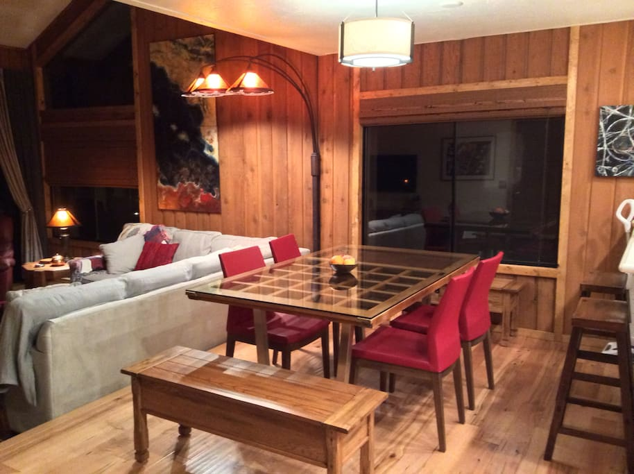 Dining with antique Japanese door converted to table