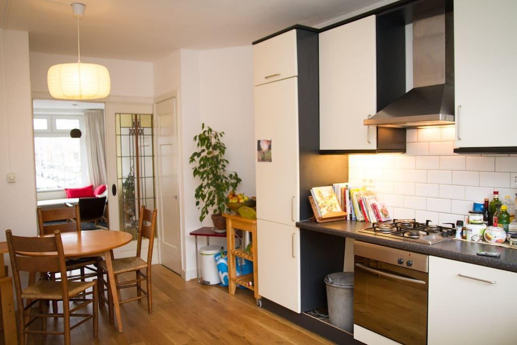 Our kitchen and living room are really one big open plan space, with nice art deco sliding doors inbetween.