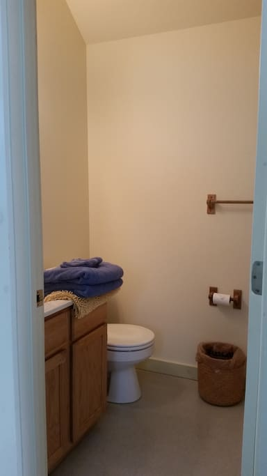 Shower to right (not in pic).  Two clean towels and wash clothes provided.