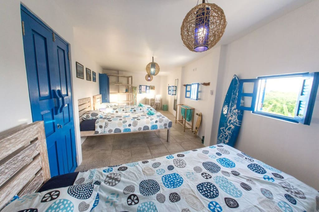 5.b Surf room for three, wi-fi, garden view, private bathroom