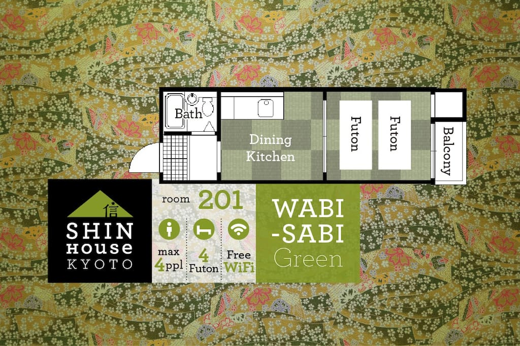 Renovated authentic Japanese room in stylish WABI-SABI Green tone for 2-4 people