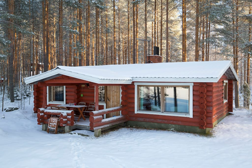 Riihiniemi raudanniemi with private beach chalet in for 2 camere da letto 2 bagni planimetrie della cabina di log