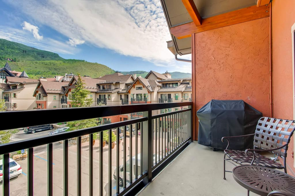 Get a view of the Village below, from your main-level balcony with gas grill.