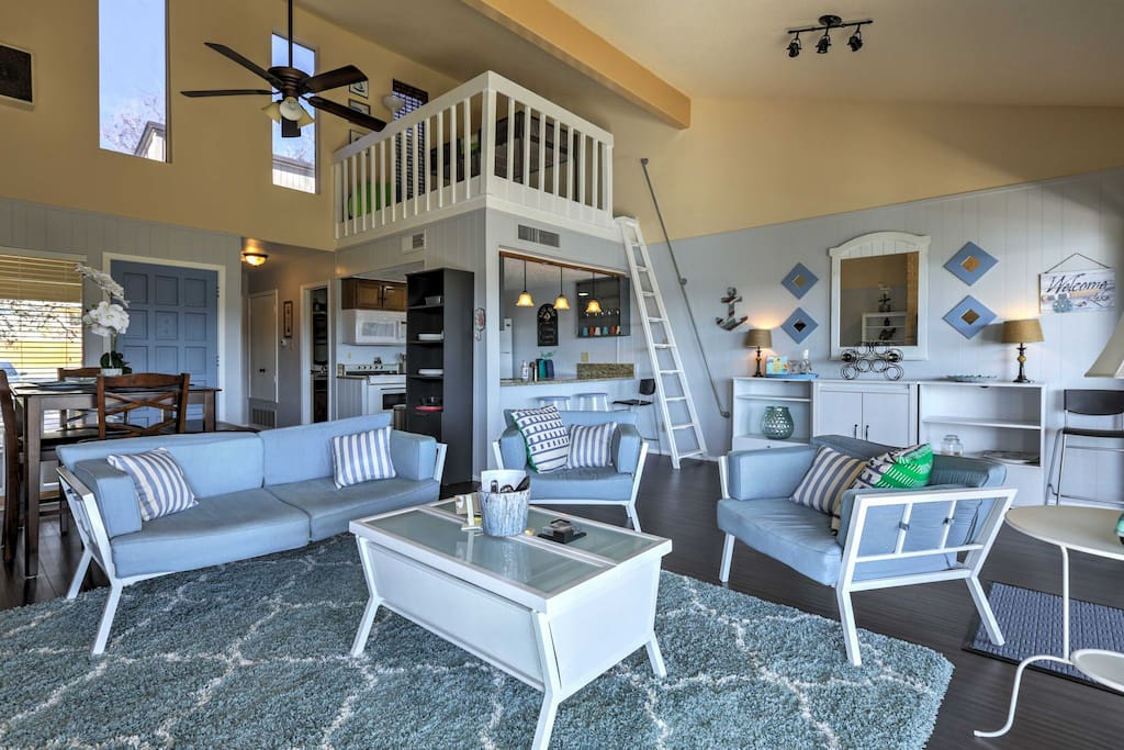The lovely townhouse features beach-themed decor throughout.
