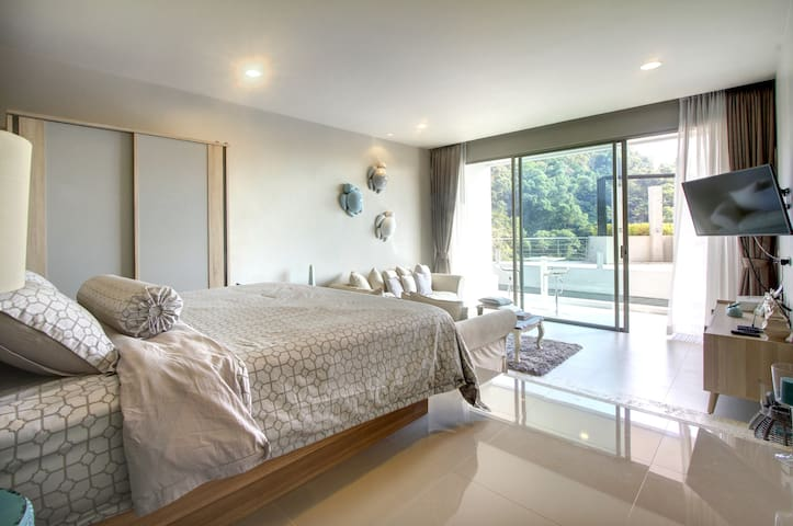 Pool view by bedroom