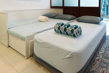 Additional single airbed provided for groups of 5 guests!